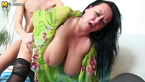 Big breasted mama fucking and sucking youthfull boy