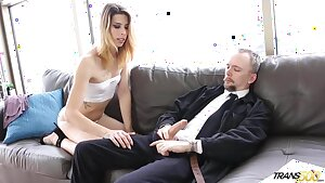 Young Tgirl Casey Kisses pays rent with her ass and mouth