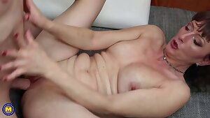 Mature mother opens her hot pussy for son