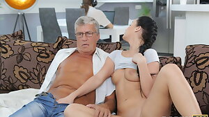 DADDY4K. Taboo sex of old guy and jummy brunette ends