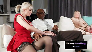 Lingerie tgirl doggystyled in interracial three