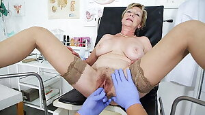 grandmother gets fingered by her doctor