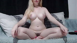 Hot busty blonde with hairy pussy fingering