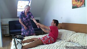 Blonde old granny is doggystyle screwed