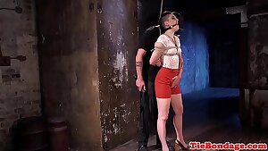 Male domination uses vibrator on tied up bdsm sub