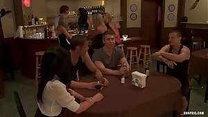 Naughty Bi-otches get Fucked by Three Guys in a Bar  HD Porn 7e