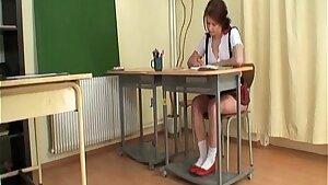 Teacher bangs schoolgirl caught jerking off her pussy